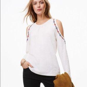 LOFT Embroidered Cold Shoulder Top (XL)